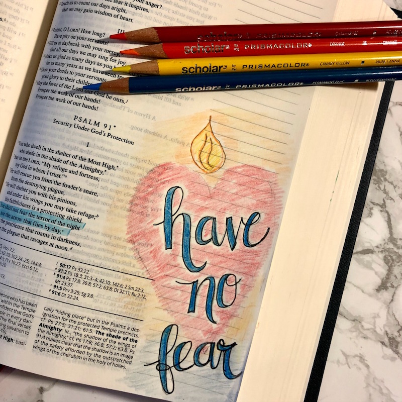bible journaling colored pencils